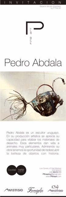 Invitación para la exposición del escultor Pedro Abdala