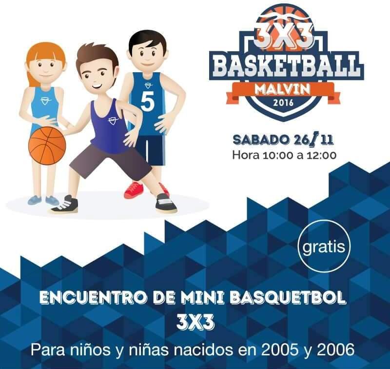 Encuentro de Mini Basket 3 X 3 en el Club Malvín