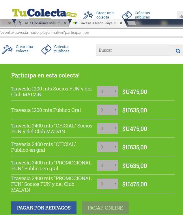 Costos de la Travesía Playa Malvín 2017