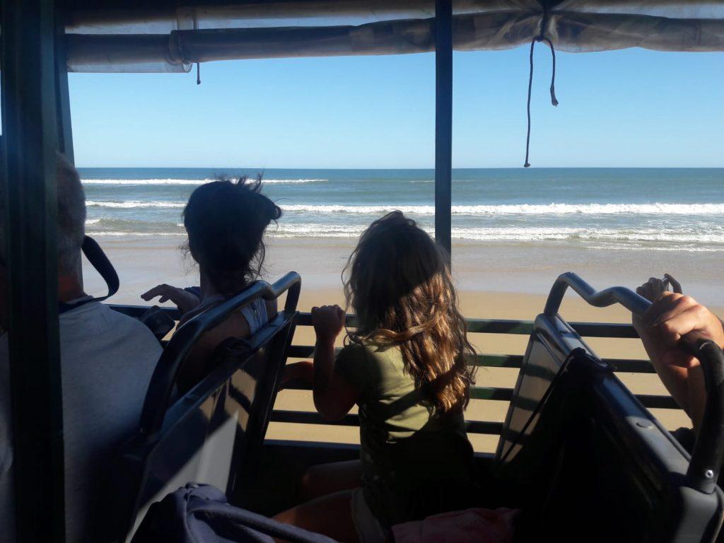 Cabo Polonio ingreso en camiones tipo safari bordeando el océano
