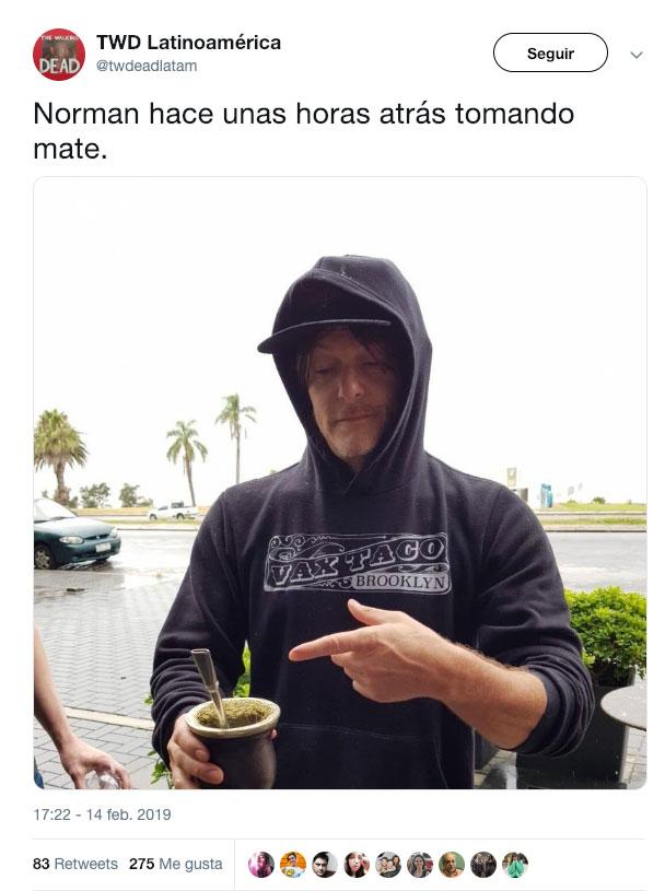 Norman Reedus en Uruguay con mate en mano