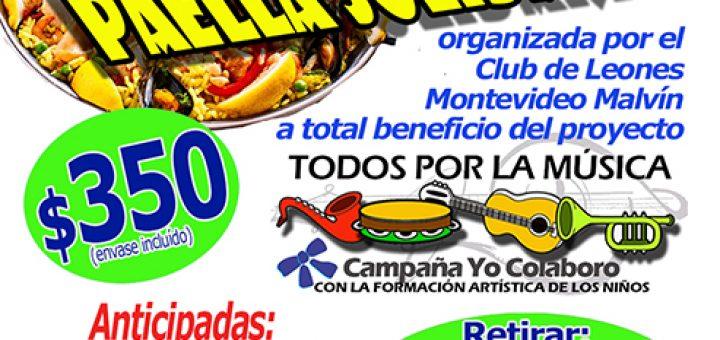 Paella solidaria para el proyecto Todos por la Música este domingo 29 de julio!