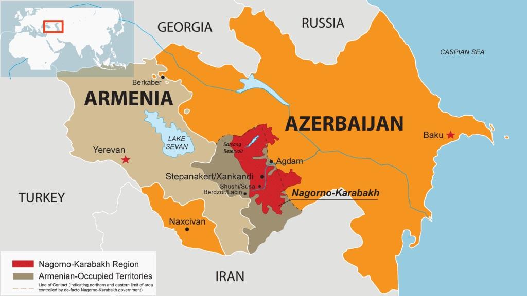 Mapa Armenia Azerbaijan