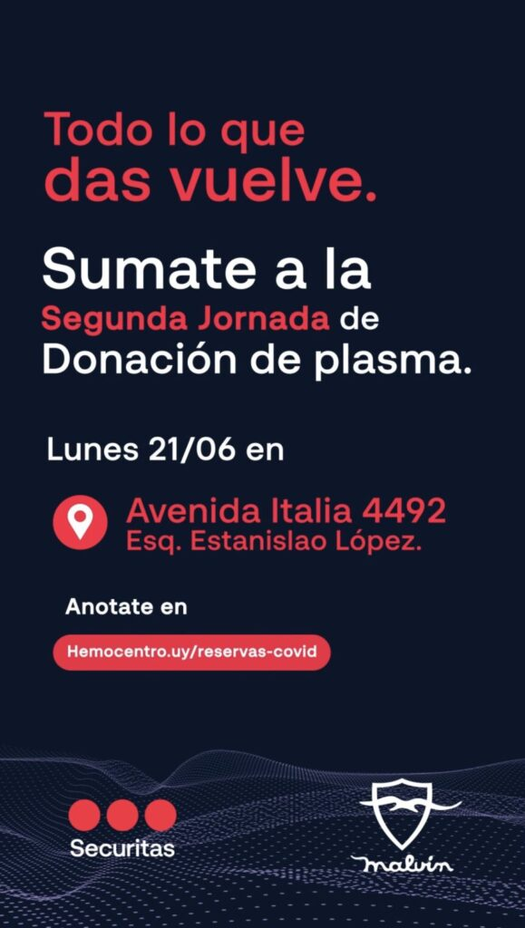 Donar plasma salva vidas!!! Este lunes 21 podés donar en Malvín
